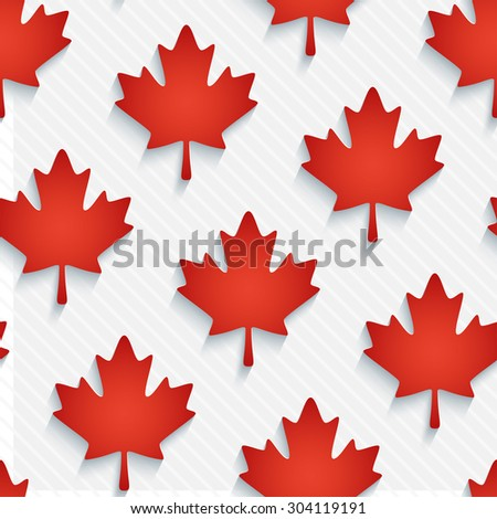Red maple leaves wallpaper. 3d seamless background. Vector EPS10. - stock vector