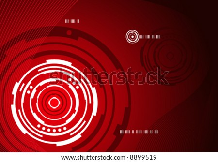 Red mechanical concentric circle abstract background design - stock vector