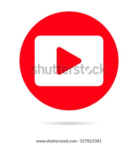 Red media player icon with shadow, social media icons, minimalism. Eps 10. Vector illustration - stock vector