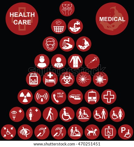 Red Medical and health care related pyramid icon collection isolated on black background