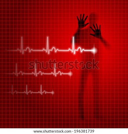 Red medical background with human silhouette and cardiogram line - stock vector
