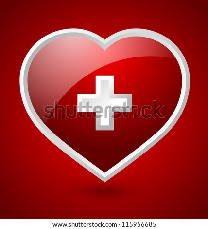 Red medical heart icon with white cross isolated on bloody background - stock vector