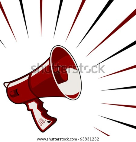 Red megaphone announcement over starry square background - stock vector