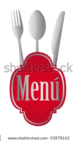 red menu sign with cutlery over white background. vector illustration