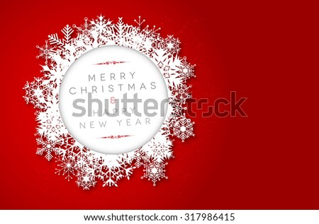 Red Merry Christmas and Happy New Year card with snowflakes and place for your text - vector illustration - stock vector