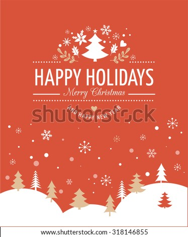 Red Merry Christmas Greeting Card - stock vector
