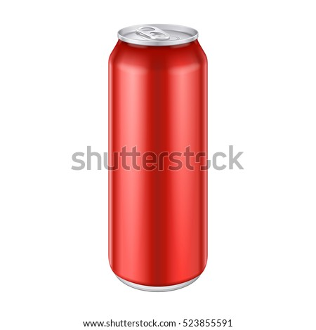 Red Metal Aluminum Beverage Drink Can 500ml, 0,5L. Mockup Template Ready For Your Design. Isolated On White Background. Product Packing. Vector EPS10