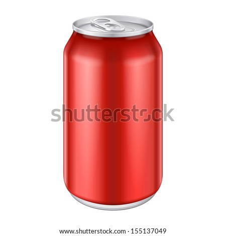 Red Metal Aluminum Beverage Drink Can 330ml, 500ml. Mockup Template Ready For Your Design. Isolated On White Background. Product Packing. Vector EPS10 Product Packing Vector EPS10 - stock vector