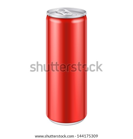 Red Metal Aluminum Beverage Drink Can 250ml. Mockup Template Ready For Your Design. Isolated On White Background. Product Packing. Vector EPS10 Product Packing Vector EPS10 - stock vector