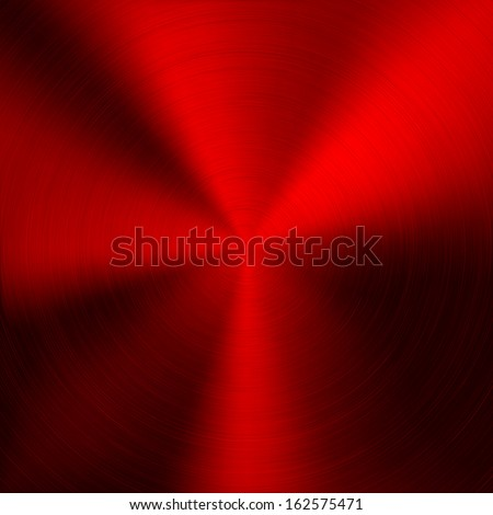 Red Metal background with realistic circular brushed texture (chrome, iron, stainless steel, silver) for user interfaces (UI), applications (apps) and business presentations. Vector illustration. - stock vector