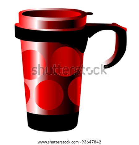 red metal cup with dots isolated on white - stock vector