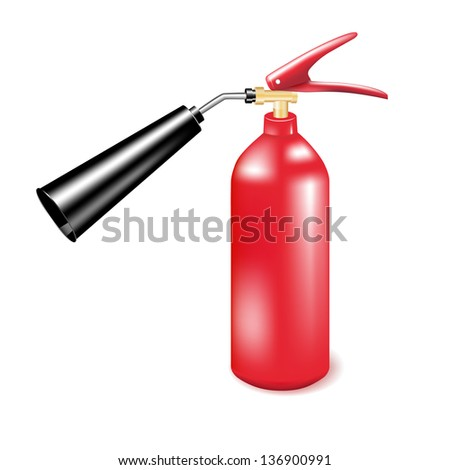 Red metal fire extinguisher. Vector illustration