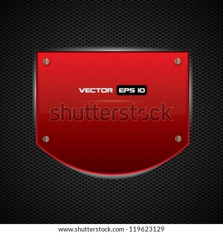 Red metal shield or board - vector