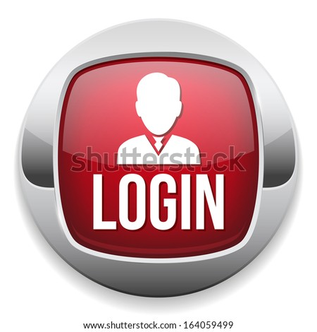 Red metallic login button - stock vector