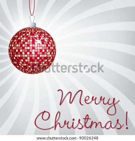 Red mirror ball Merry Christmas card in vector format. - stock vector