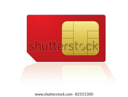 Red mobile phone sim with reflection in white background - stock vector