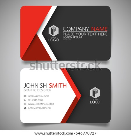 Red Modern Creative Business Card Name Stock Vector