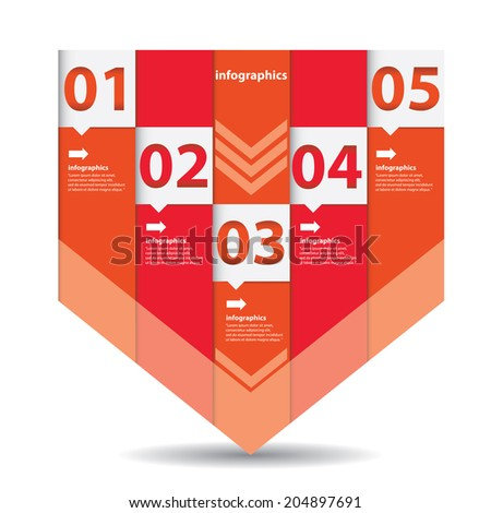 red modern Design template / can be used for infographics / numbered banners / horizontal cutout lines / graphic or website layout vector
