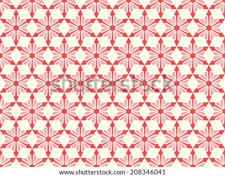 Red modern star and circle and arrow shape seamless pattern. Fashionable flower for graphic or classic smart design - stock vector