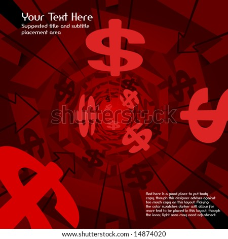 Red money vector 3D background (text easily replaced with your own copy)