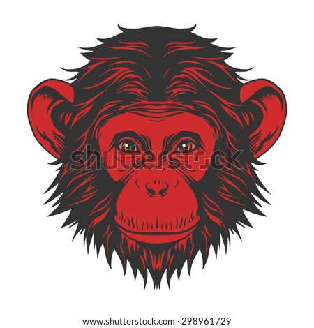 Red monkey head - stock vector