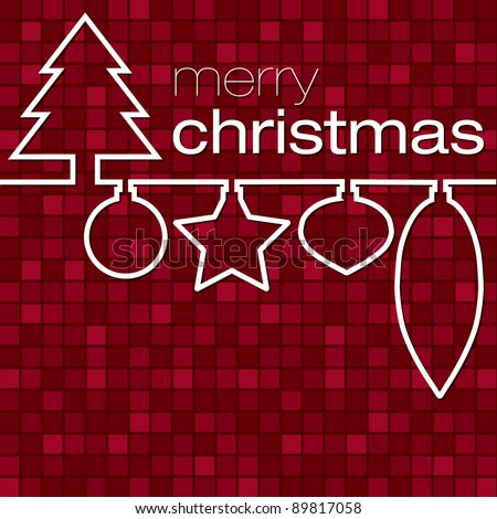 Red mosaic line Christmas card in vector format. - stock vector