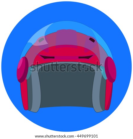 Red motorcycle helmet on blue circle background. Flat style vector illustration. Personal safety equipment for motorcycle driver on road. Lifeguard gear for racer. Driving equipment icon.