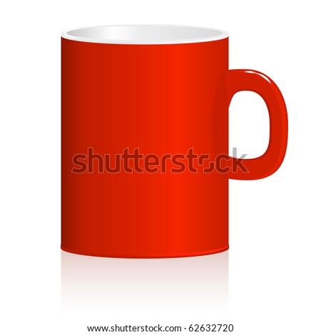 Red mug on white background. Vector illustration. eps8 - stock vector