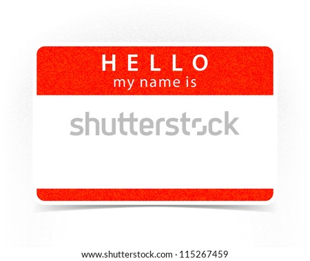 Red name tag empty sticker HELLO my name is with drop gray shadow on white background. Vector illustration clip-art element for design saved in 10 eps - stock vector