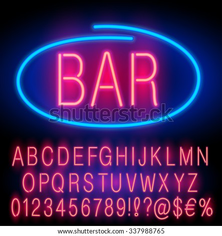 Red  Neon Alphabet Set for Signs. Realistic vector font set - stock vector