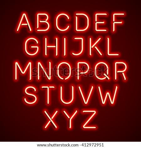 Red neon light glowing alphabet. Vector. - stock vector