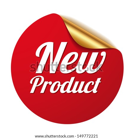 Red new product sticker - stock vector