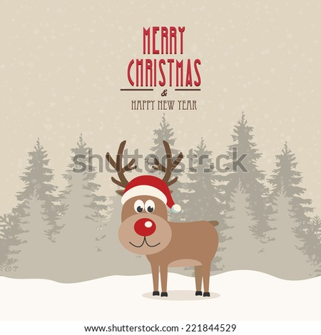 red nose reindeer santa hat snowy winter background - stock vector