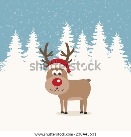 red nose reindeer santa hat winter background - stock vector