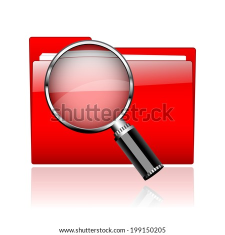 Red office document paper folders with magnifier glass. Searching files concept  - stock vector