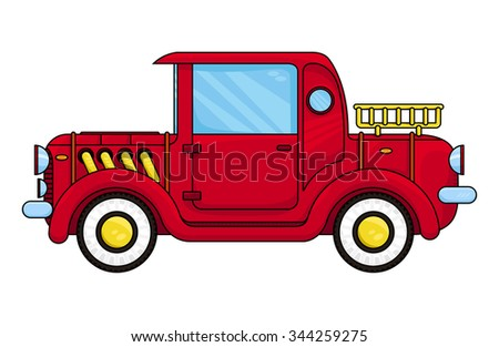 red old car, vector illustration