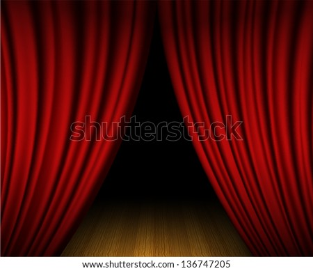 Red open curtain on wooden stage