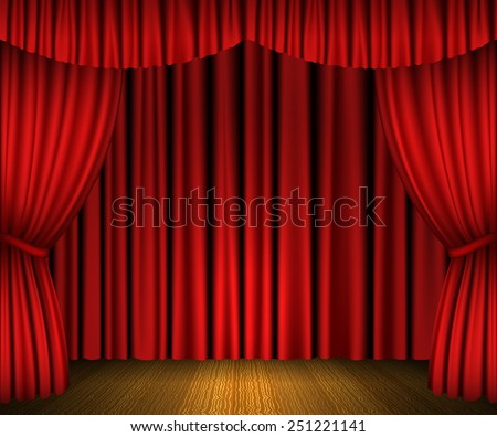 Red open curtains and wooden stage - stock vector