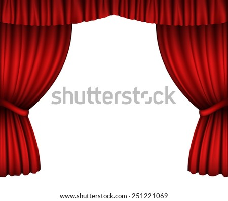 Red open curtains isolated on white - stock vector