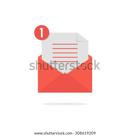 red open envelope with check list and shadow. concept of newsletter, notify, support, incoming, confirm. isolated on white background. flat style trend modern logo design vector illustration - stock vector