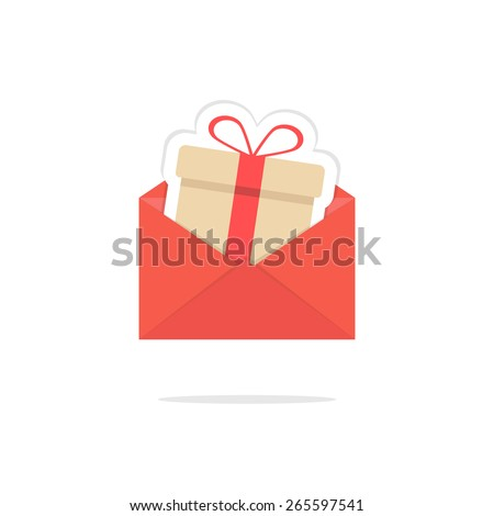 red open letter with gift box card. concept of shopping, giftbox, xmas, sticker, delivery, wedding, festive, event day. isolated on white background. flat style modern logo design vector illustration - stock vector