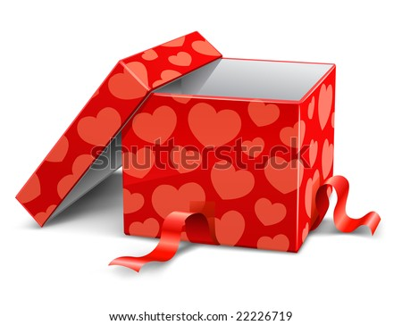 red opened cardboard box with hearts vector illustration - stock vector