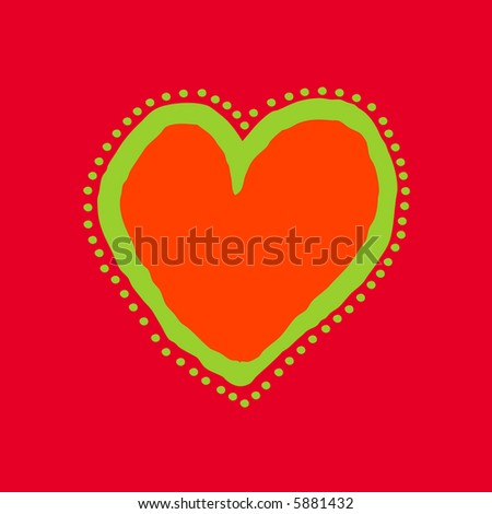 Red, orange and green painted heart - stock vector
