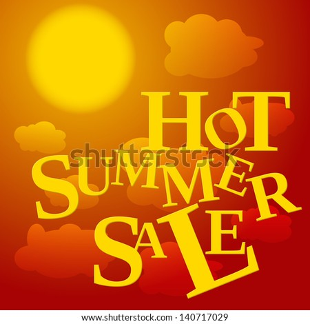 red, orange and yellow colored poster with clouds and text hot summer