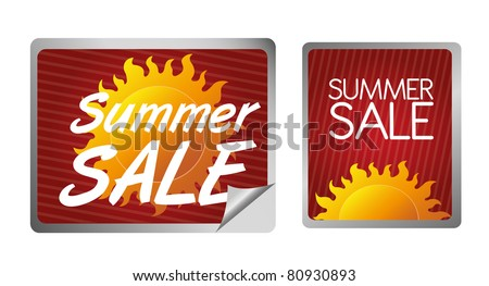 red, orange and yellow summer sale label isolated over white background