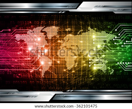 red orange green Light Abstract Technology background for computer graphic website internet and business.circuit.illustration.digital.infographics.binary code. www.vector.motion move blur. World map - stock vector