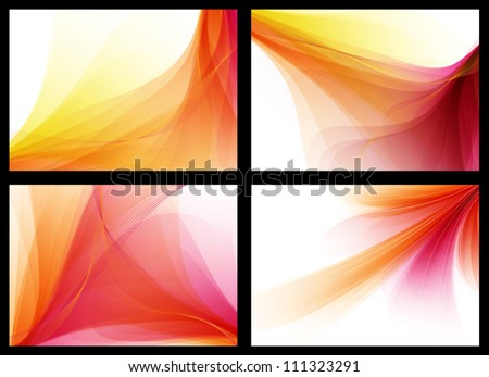 Red / orange smooth vector backgrounds set - stock vector