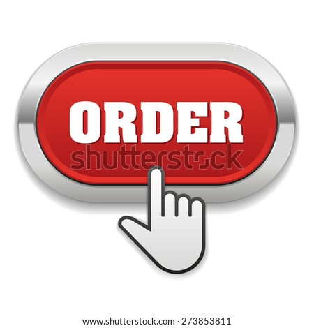 Red order button with metallic border on white background - stock vector