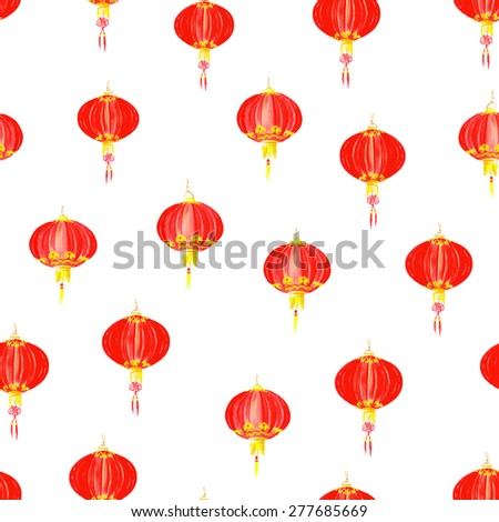 Red oriental lantern watercolor seamless vector pattern