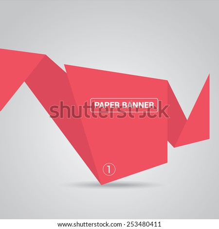 red origami paper speech bubble or web banner .vector illustration - stock vector
